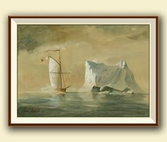 Sailling ship in the Ice . Print of a Seascape watercolor painting of mine. Nautical coastal scene decor. Frame and mat not included, just