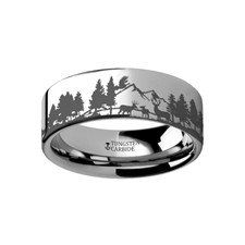 WETTERHORN    Flat Tungsten Ring Engraved with Reindeer Deer Stag Mountain Range    |    4mm, 6mm, 8mm, 10mm & 12mm