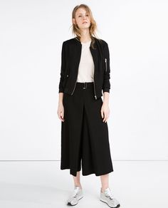 Image 1 of FLOWING ZIPPED BOMBER JACKET from Zara