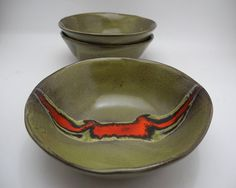 Olive Green and Red Ceramic Bowl Handmade Pottery by ClayismyArt