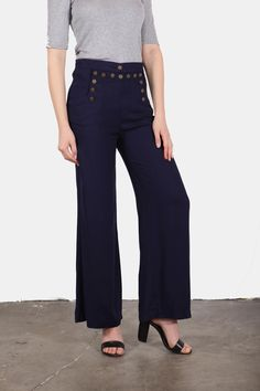 Wide legged navy sailor pants with button detailing and retro vibes. Beautiful and classy with a nice high waisted fit. Navy Girl Sailor-Pants by En Creme. Clothing - Bottoms - Pants & Leggings - Flare & Wide Leg Clothing - Bottoms - Pants & Leggings - High-Waisted California