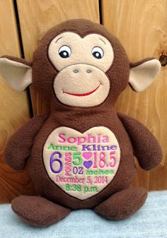 Monogrammed baby gift personalized embroidered cubbies elephant monogrammed baby gift embroidered monkey made in usa exclusively offered by personalized by world class embroidery negle Image collections