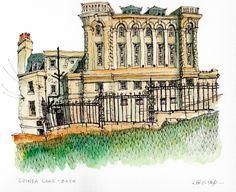 Chris Lee Monuments, Urban Sketchers, Watercolor Sketch, Art Sketches, Painting & Drawing, Illustration Art, Illustrations, Bath, Drawings
