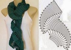 Crochet Patterns Scarf Crochet scarf pattern…I need to find someone who can explain this chart to me. Col Crochet, Crochet Collar, Crochet Cardigan, Crochet Scarves, Crochet Motif, Crochet Shawl, Crochet Clothes, Crochet Stitches, Crochet Patterns