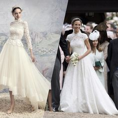 Pippa Middleton's wedding dress was one of the most searched for gowns - see our similar style #1629 of high neck lace gown with a beautiful a line skirt! | Toronto Wedding | Wedding Style | Royal Wedding |