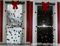 20 magical diy christmas home decorations youll want right now window decoration with christmas ball ornaments another great way to put your old ball ornaments to good use all you have to do then is hang them from solutioingenieria Gallery