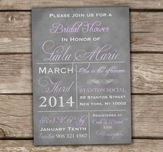 Purple Vintage Bridal Shower Invitations - DIY, Printable, Grey, Lilac, Lavender, Purple, Baby Shower, Couples Shower, Wedding, Typography on Etsy, $20.00