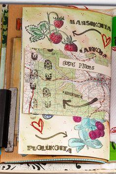 Kartasta tehty kirjekuori päätyi pieneksi sivuksi art journaliin.