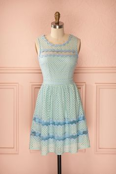 Ametza Meadow - Light blue and yellow floral lace dress