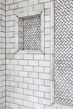 I cannot get enough of subway tiles!! Contemporary Eclectic Bathroom A herringbone mosaic in a recessed shower niche