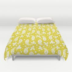 Bubble Fish in White on Mustard  Duvet Cover