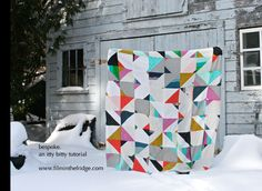 I thought I'd provide you with a couple measurements in case you're interested in making a quilt similar to my bespoke quilt. This one is nice and easy - it's really just a few squares sewn togethe...