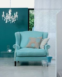 turquoise chair, as an accent..with grey couch