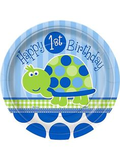 First Birthday Turtle Cake Plates