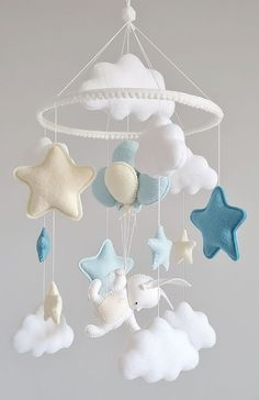 Baby mobile bunny on balloons by OhMyPenguin. Baby crib mobiles. Blue mobile, Boy Girl mobile