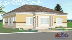 112E - Africplans Style Africain, Simple House Plans, Villa, Electrical Installation, Septic Tank, Roof Plan, Western Union, Bungalow, Floor Plans