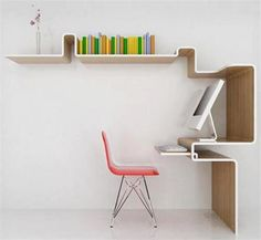 Simple-Space-Saving-Workdesk-with-BookShelf-Combination. Hope this can give you an interesting idea that will bring your interior more catchy and cool. (via dhomeinteriordesign)