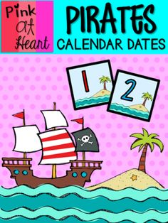 Pirates Calendar Dates from kac2877 from kac2877 on TeachersNotebook.com (10 pages)  - PDF - 1-31 date cards PLUS 6 blank cards!