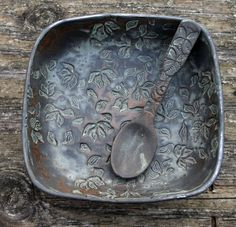 Handbuilt square bowl with leaf imprint. Spoon is handbuilt. Stoneware. Mark Strayer - North Star Pottery. 10/2012