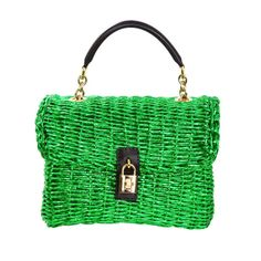Dolce & Gabbana Metallic Green Woven Raffia Basket Bag Rt. $2,400 | From a collection of rare vintage handbags and purses at http://www.1stdibs.com/fashion/accessories/handbags-purses/