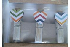 Wooden Bamboo Pegs white washed with decoupage wooden heart by Buggaluggs - Made with love on hellopretty.co.za