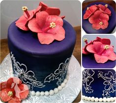 A tropical anniversary celebration cake. Airbrushed fondant and hand-piped detail with gumpaste hibiscus flowers.