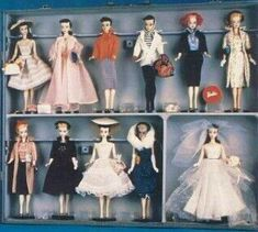 1959 Salesman sample case. Only one known to exist. All of the  1959 fashions on a #1 Barbie. Right side of case.
