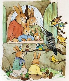 Colored plate illustrating the story of Molly, the Easter Bunny by Ilse Schmid