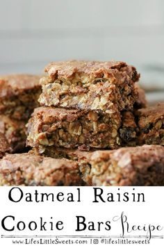 Oatmeal Raisin Cookie Bars are exactly like our favorite Oatmeal Raisin Cookies, only in bar form. They are about 1 inch thick, sweet with brown sugar and raisins and deliciously satisfying! #oats #oatmeal #cookiebars #dessert #sweet #raisins