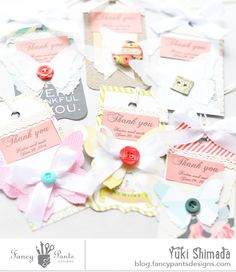 Beautiful tags by Yuki Shimada for #fancypantsdesigns using #meology & #burlapandbouquets collections.