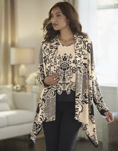 Floral Scroll Twinset by Midnight Velvet Style from Midnight Velvet®. With a gorgeous floral print, this tank and cardigan pairing combines bold drama with a deliciously soft fabric. Bohemian Tops, Velvet Fashion, White Casual, Kimono Top, Floral Prints, Tunic Tops, Fashion Outfits, My Style, Clothes