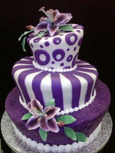 Amazing Fondant Cakes   purple fondant topsy turvy by anna's cake art, via ...   Amazing cakes