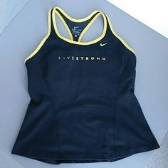 Nike 'live strong' Dri-fit shorts top. Nike 'live strong' dri-fit sports top, with built-in sports bra.  Gently used, good condition.  Black with yellow trim. Nike Tops