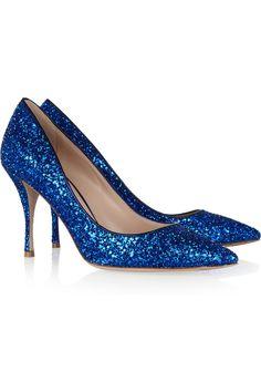 Yes please!!  Miu Miu|Glitter-finished leather pumps|NET-A-PORTER.COM