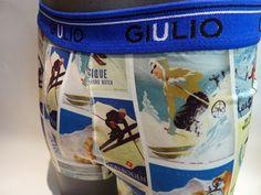 boxer licra esqui giulio - Boxer ajustado, estampaciones de gran calidad en color de carteles de esquí de los años 30 - Goma vista, con el logo de la marca - Ref: 684A131L10 #calzoncillos #hombre #modahombre #moda #ropainterior http://www.varelaintimo.com/marca/10/giulio