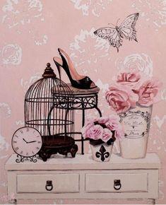 Retro Vintage Pink Bird Cage Flower High Heel Shoe Home Decorative Cotton Linen Pillow Case Cushion Cover (Mainland)) Decoupage Vintage, Decoupage Paper, Vintage Ephemera, Vintage Cards, Vintage Images, Vintage Pink, Diy Image, Diy And Crafts, Paper Crafts