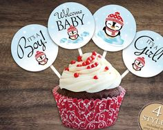 """Instant Download Penguin Cupcake Toppers, 2"""" Red Penguin Baby Shower Cupcake Toppers, Gender Neutral Winter Cupcake Decorations 74C - http://babyshowercupcake-toppers.com/instant-download-penguin-cupcake-toppers-2-red-penguin-baby-shower-cupcake-toppers-gender-neutral-winter-cupcake-decorations-74c/"""
