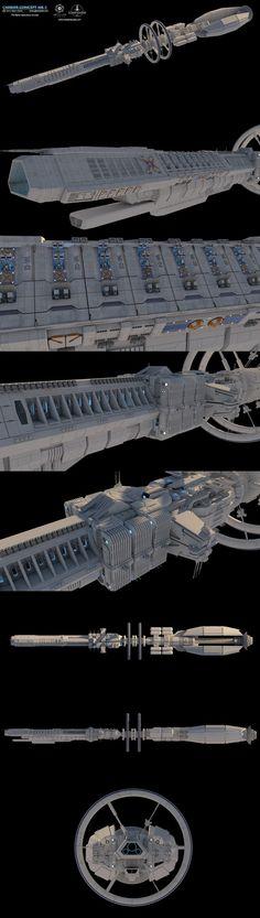 Starfighter, Inc. - Carrier Concept, Glenn Clovis on ArtStation at https://www.artstation.com/artwork/JZK2z