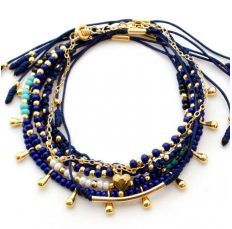 Pulsera Hilo Chaquiron Azul Balines Gotas