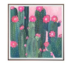 Cacti Art  Original Acrylic painting  Pink by OksanaLiuArt on Etsy