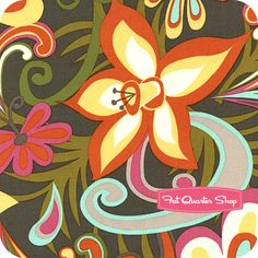 Cabana Blooms Dark Gray Scroll Flower Yardage SKU# 33798-X - Fat Quarter Shop