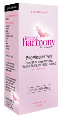 Internal Harmony Natural Progesterone Cream with Vitamin E, B6, B12, and 2000IU Vitamin D  Contains natural progesterone, botanicals & antioxidants. Dispenses measured applications with an airless self-sealing pump.  Each metered dose delivers 25mg of all-natural plant-derived progesterone.  Black Cohosh, Chasteberry, & Red Clover are natural plant extract phytoestrogens believed to help alleviate menopausal symptoms such as hot flashes.  American Ginseng & Maca are known to increase s...