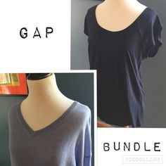 """GAP T-Shirt and Sweater Bundle GAP Bundle. Save big with this ready made GAP Bundle perfect for summer layering. Featuring a navy blue short sleeve T-shirt and a  lightweight powder blue long sleeve sweater, this bundle will have you prepared for any weather. Sweater is 55% linen 45% cotton and features a V-neck. Measures 20"""" chest, 23"""" length in front and slightly longer length in back at 26"""".  Rayon T-shirt measures 16"""" chest and 23""""length.  EUC GAP Tops"""