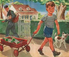 Vintage graphic of a young boy red wagon dog by FrugalDownloads