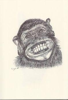 BALLPEN MONKEY 10 Ballpen, Ballpoint Pen, Monkeys, Illustrator, Saatchi Art, Drawings, Rompers, Monkey, Illustrators