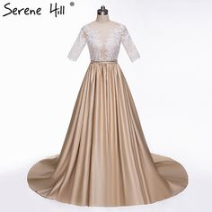 [Only $143.65] Sexy Sheer Half Sleeve Khaki Evening Dresses 2017 Lace Appliques Covered Button Sequins Prom Dress Party Robe De Soiree