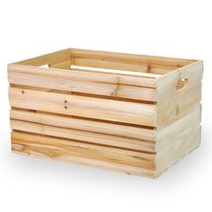 Wooden Crate Storage Box with In Handles 15in
