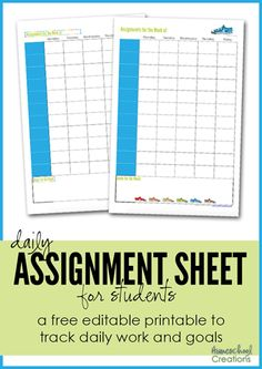 assignment sheet for students - a free editable printable from Homeschool Creations to track daily work and goals