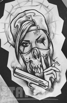 Photo of a tattoo – girl tattoo sketch- Photo of a tattoo – Тату девушки эскиз Photo of a tattoo – girl tattoo sketch - – Tattoo Sketches & Tattoo Drawings Gangster Tattoos, Badass Tattoos, Chicano Tattoos Gangsters, Graffiti Tattoo, Graffiti Drawing, Tattoo Design Drawings, Tattoo Sketches, Drawing Sketches, Tattoo Designs