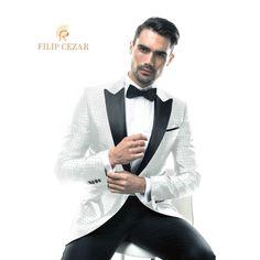 Costum de mire la comanda Filip Cezar White Silk Dots  http://www.filipcezar.com/ro/content/62-costume-mire-2017 #FilipCezar #Costume #Mire #White #Silk #Black